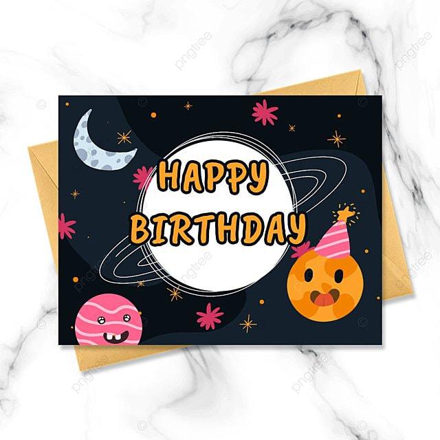 dark planet cartoon birthday card