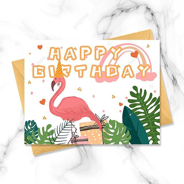 hand drawn cartoon flamingo birthday card