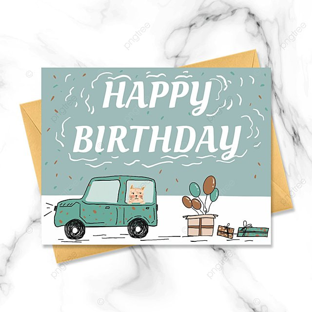 hand drawn green cartoon birthday card