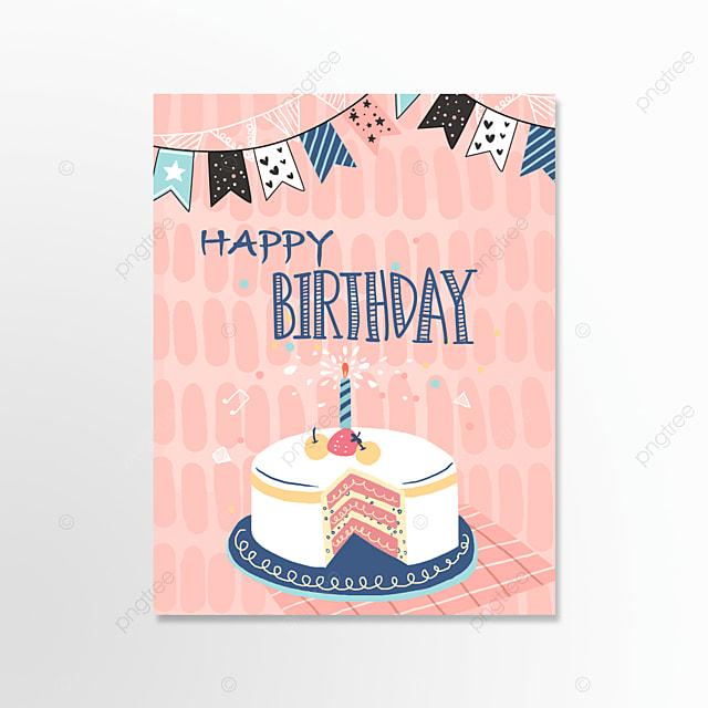 pink cartoon happy birthday card