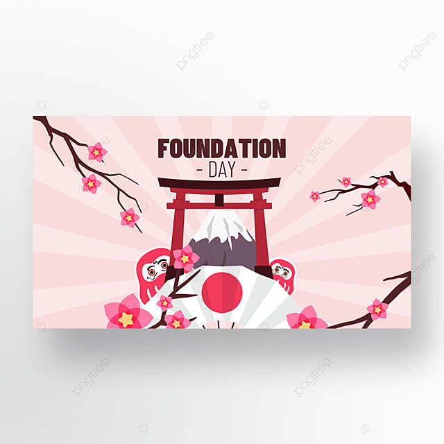 promotional banner of pink cherry blossoms celebrating the founding of japan festival