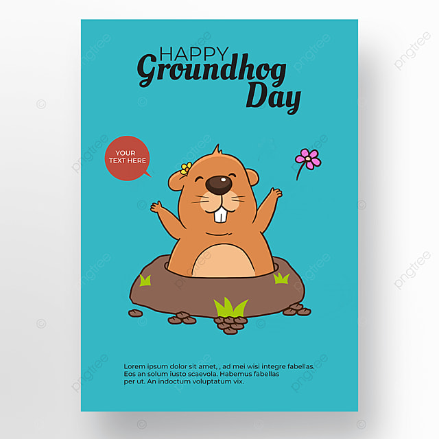 blue background groundhog day poster