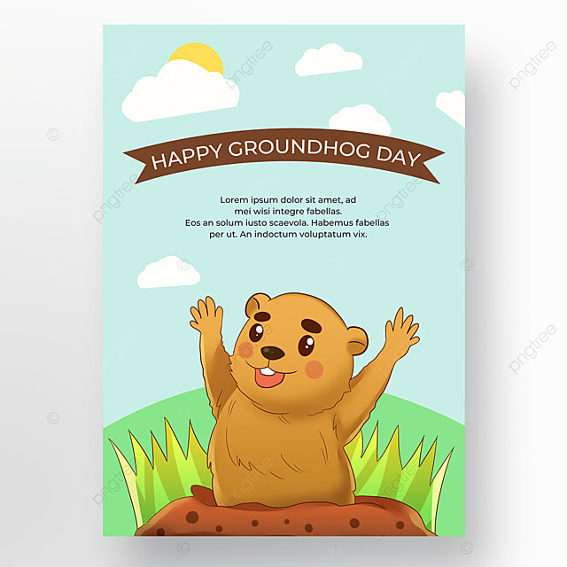 cartoon groundhog day poster