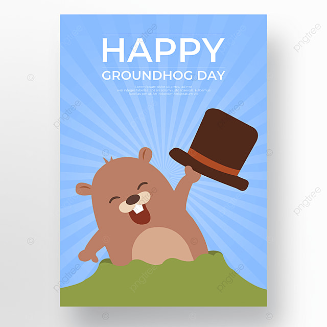 celebrate groundhog day on a light blue background
