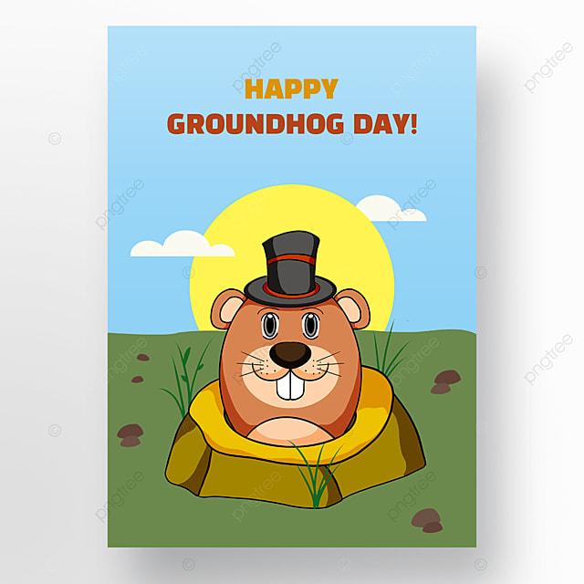 festive cartoon groundhog day