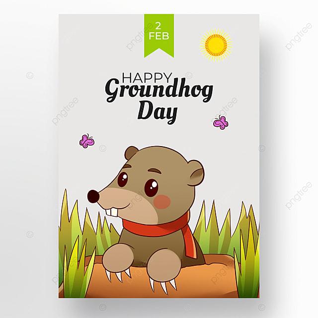 groundhog day on gray background
