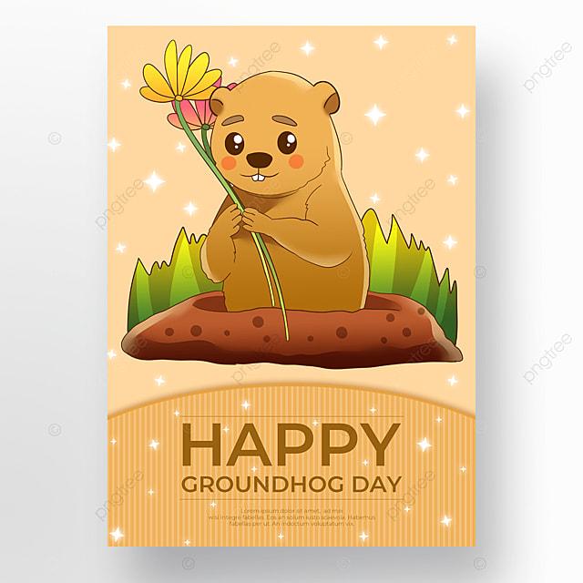 groundhog day poster cartoon yellow
