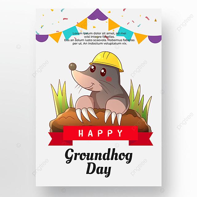 groundhog day white background poster cartoon