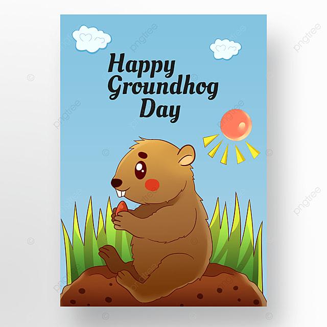 groundhog on blue sky background poster
