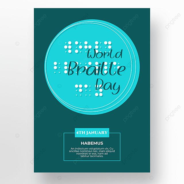 international braille day blue poster