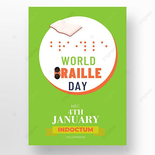 international festival braille festival green poster