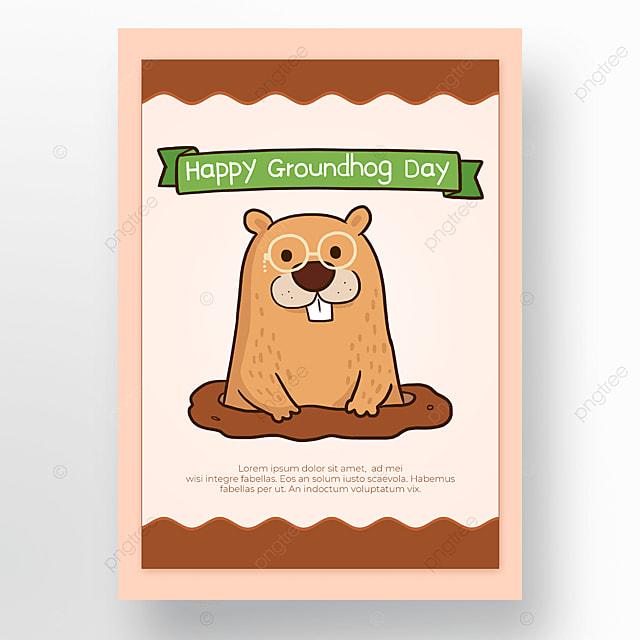 light pink background groundhog day poster