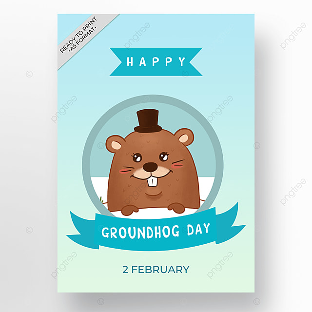 poster cartoon holiday groundhog