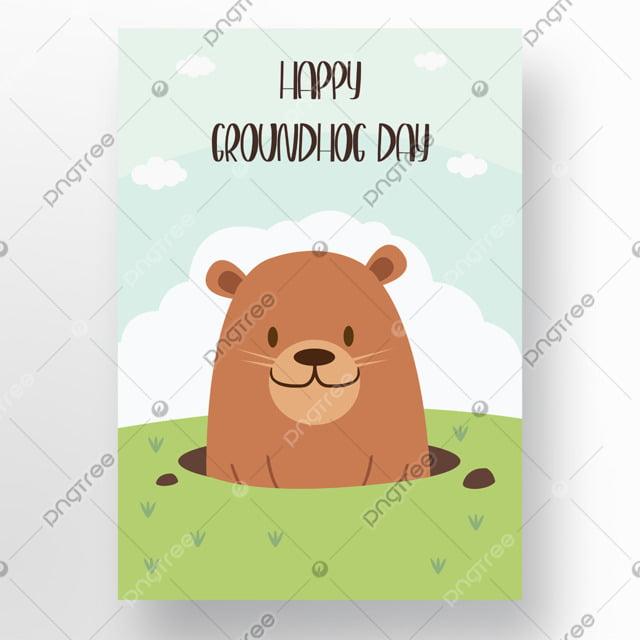 poster holiday cartoon groundhog