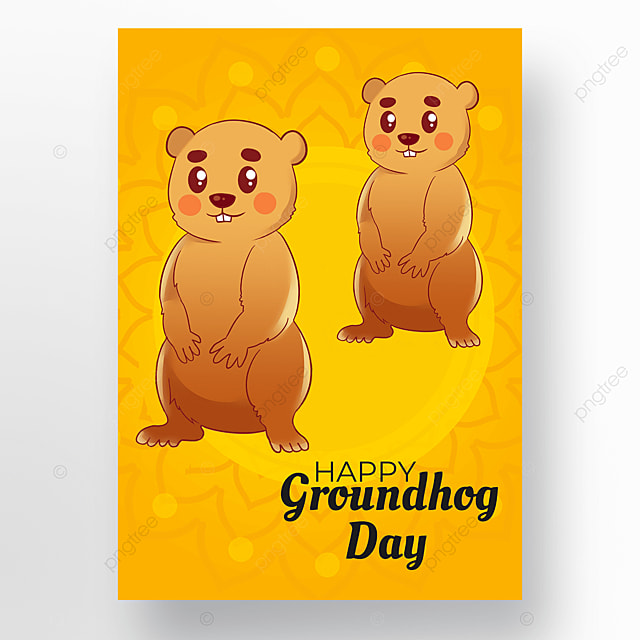 yellow background groundhog day poster