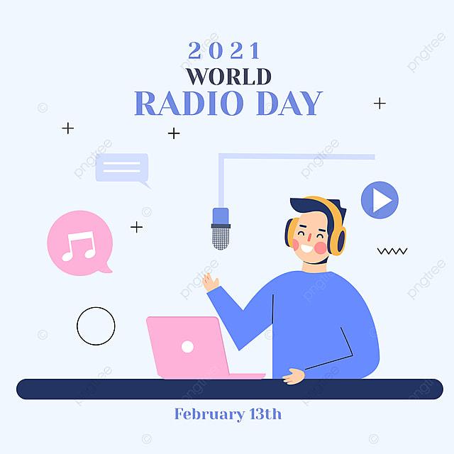 blue minimalist world radio day social network advertisement