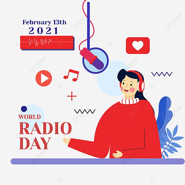 minimalistic world radio day social network advertisement
