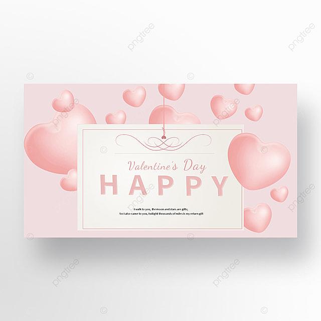 pink background love heart balloon valentine envelope web banner ad