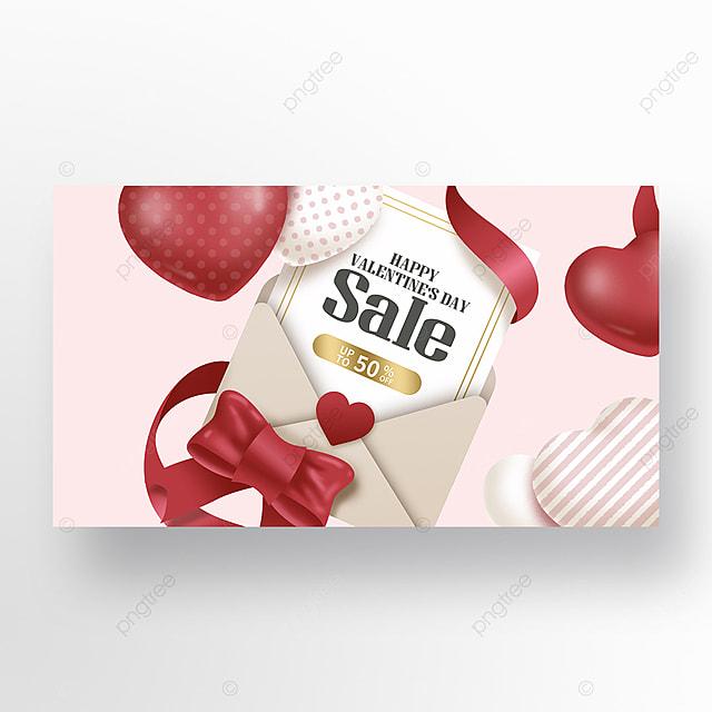 pink envelope valentines day promotion offer web banner ad
