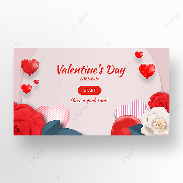 pink romantic valentines day flowers balloon web banner