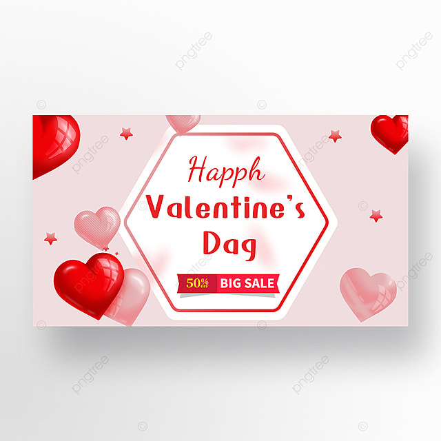 pink valentines day promotional web banner ad