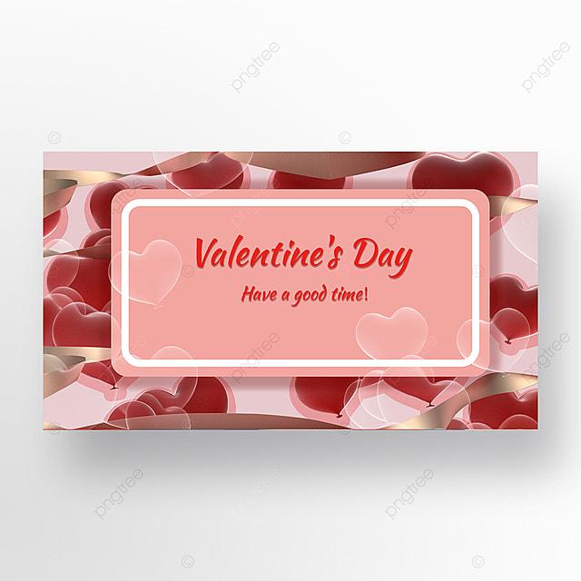 pink valentines day romantic love web banner
