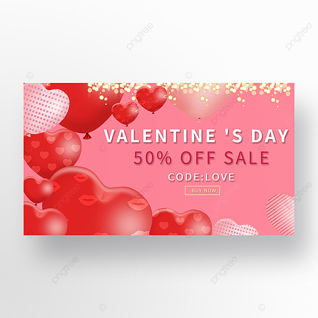 red romantic valentines day promotion web banner ad