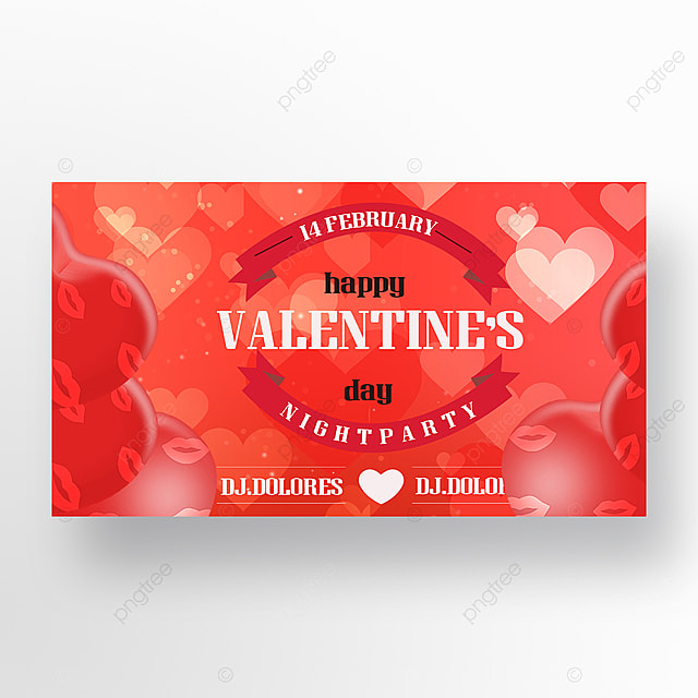 red valentines day love event web banner