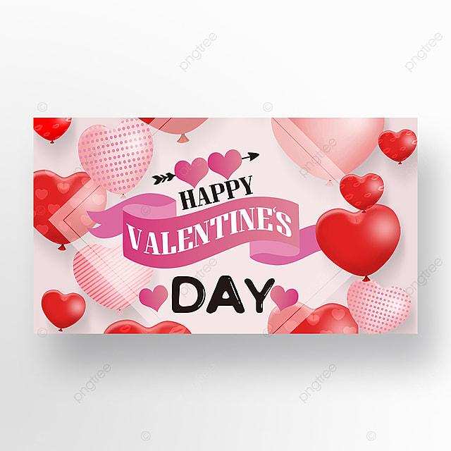 romantic happy valentines day love balloon web banner