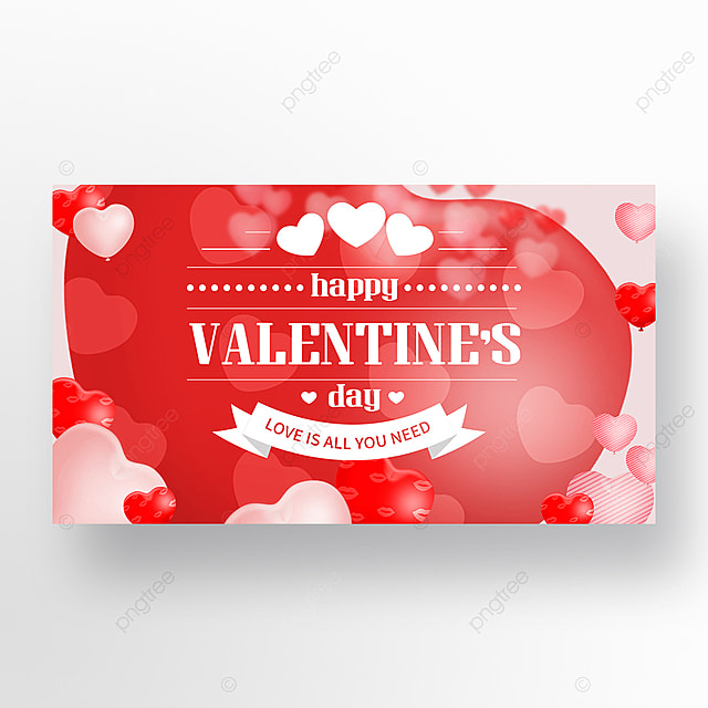 romantic red big love heart valentines day web banner