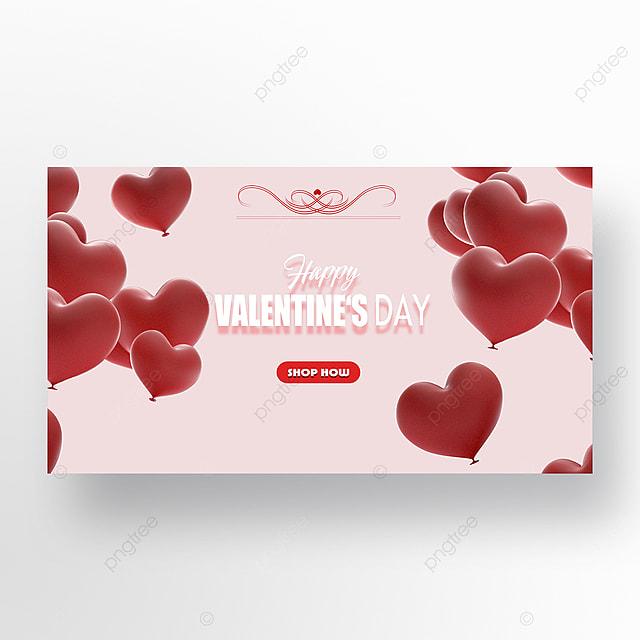 romantic valentines day balloon envelope event web banner