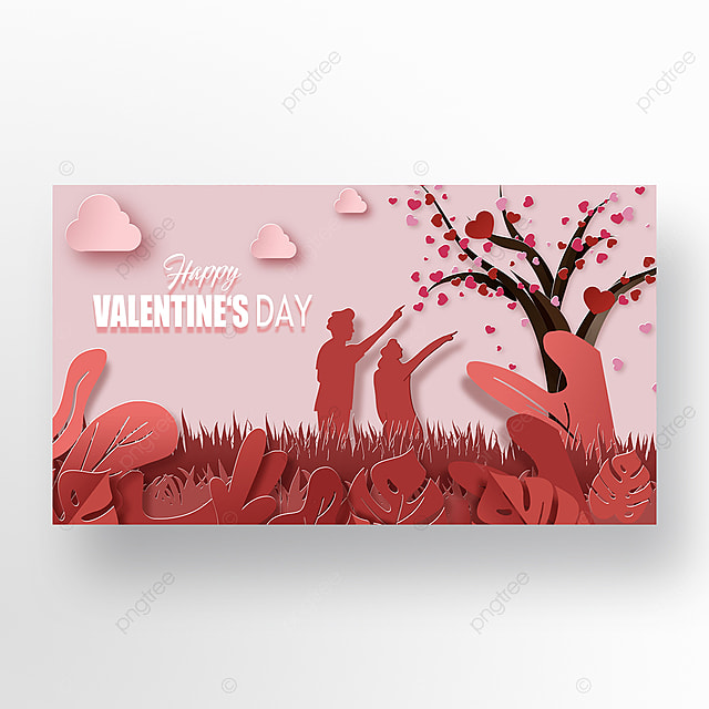 romantic valentines day pink scene silhouette web banner
