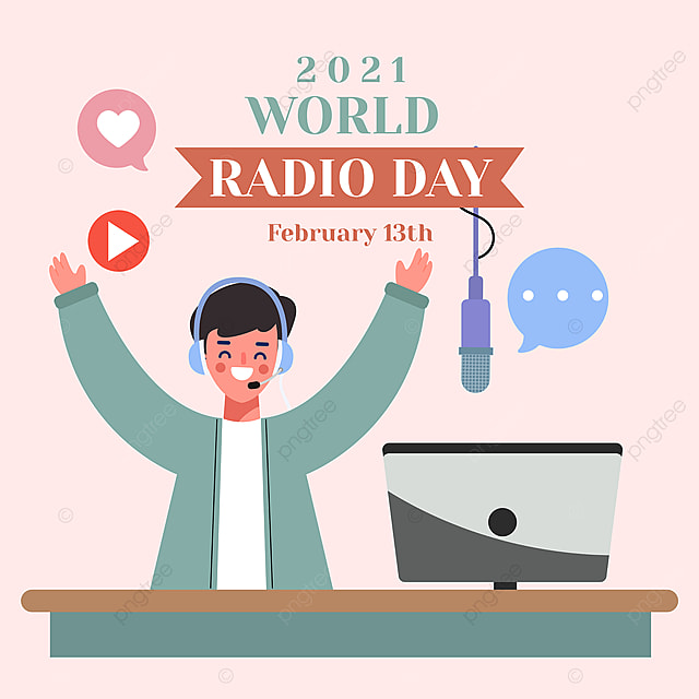 social network advertisement for enthusiastic broadcasters on world radio day 2021