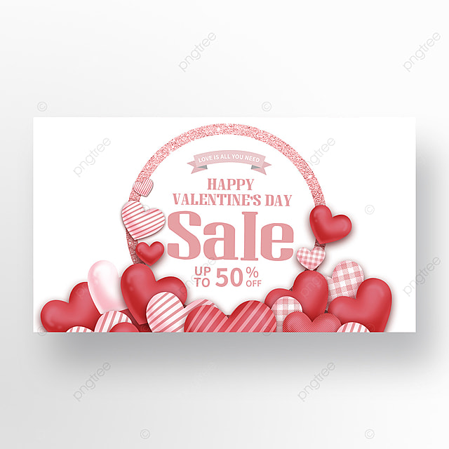 valentines day love balloon promotion web banner ad