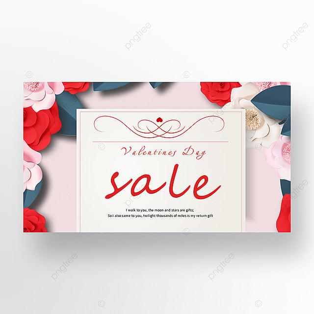 valentines day romantic flower envelope promotion web banner