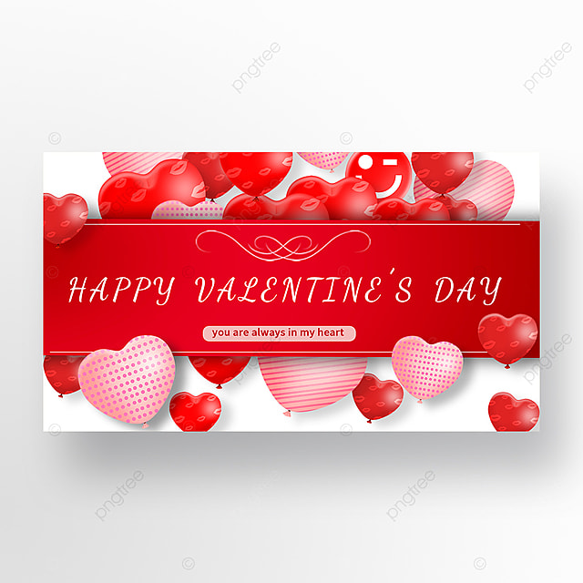 valentines day romantic red love balloon web banner