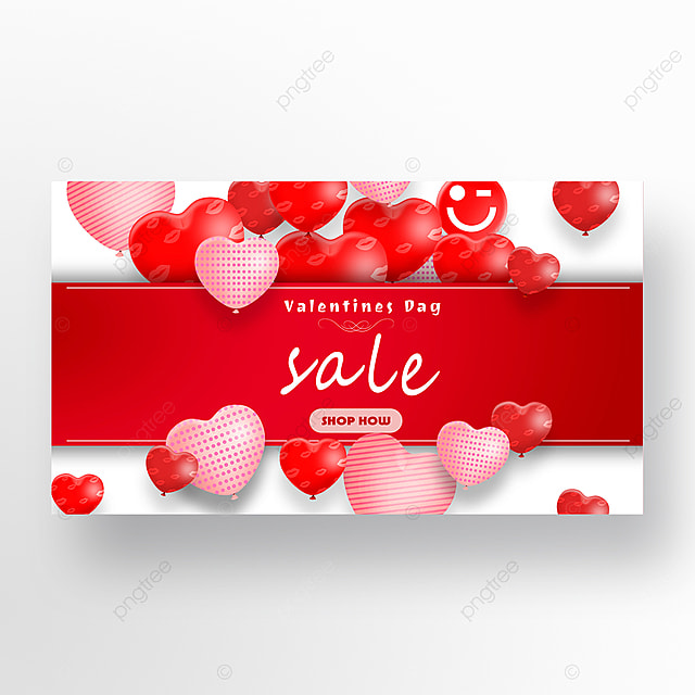 valentines day romantic red love promotion web banner ad