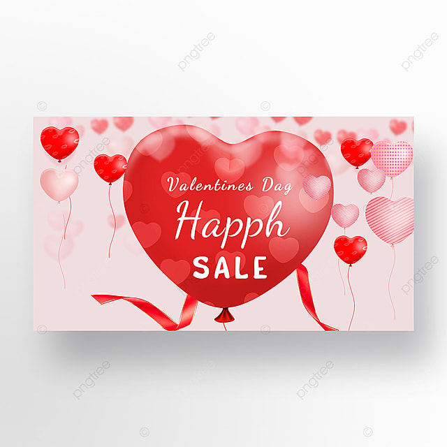 valentines day web banner with red balloons on pink background