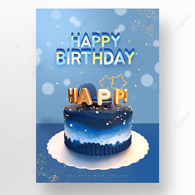 blue halo birthday cake happy birthday poster