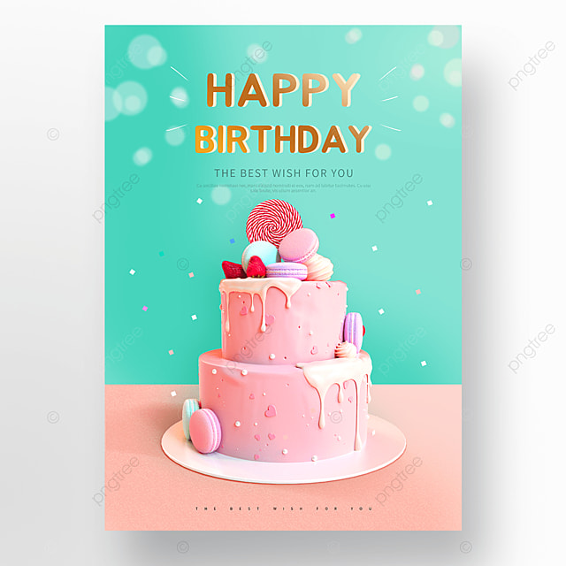 blue pink cute cake happy birthday poster