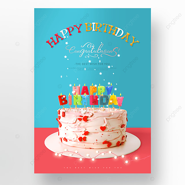 blue red birthday cake happy birthday poster