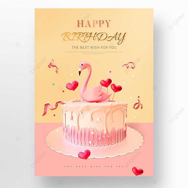 cute pink flamingo cake happy birthday poster