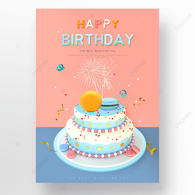 pink blue birthday cake happy birthday poster