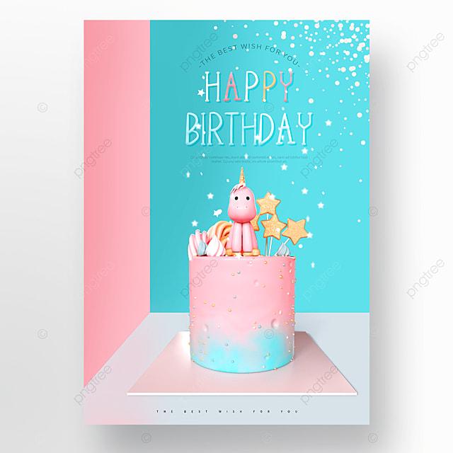 pink blue unicorn birthday cake happy birthday poster