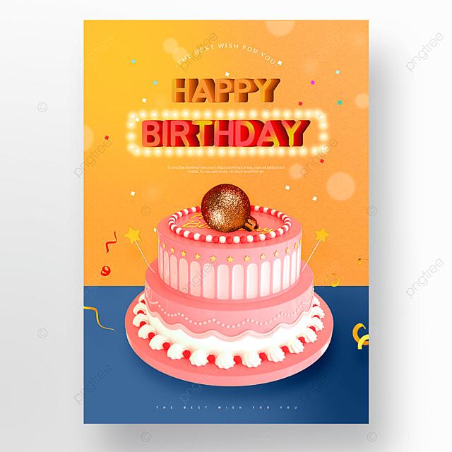 yellow blue cute cake happy birthday poster
