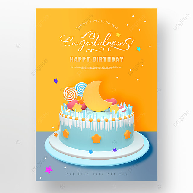 yellow cute moon cake happy birthday poster