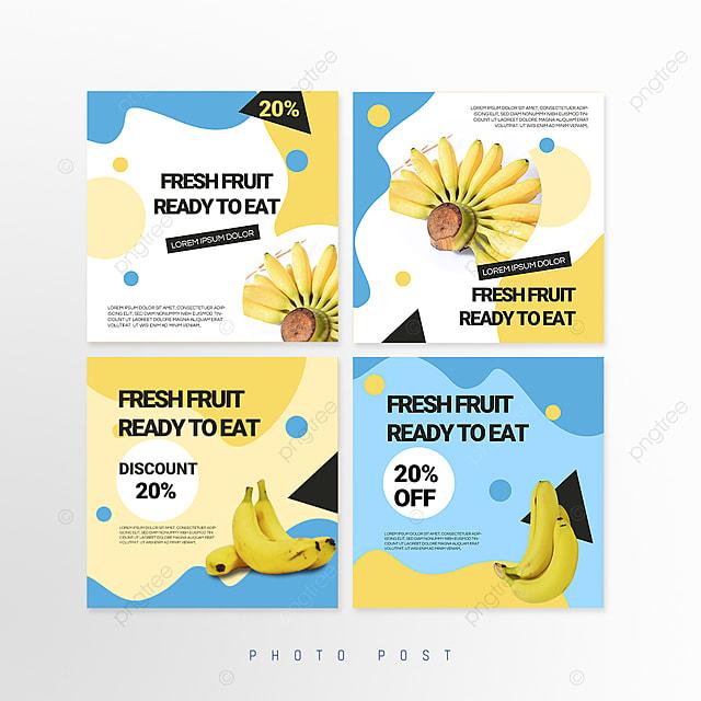 blue minimalist mosaic style fruit promotion social media promotion template