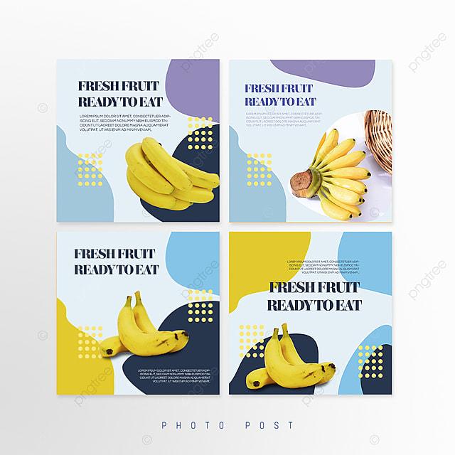 blue simple shape mosaic style fruit promotion social media promotion template
