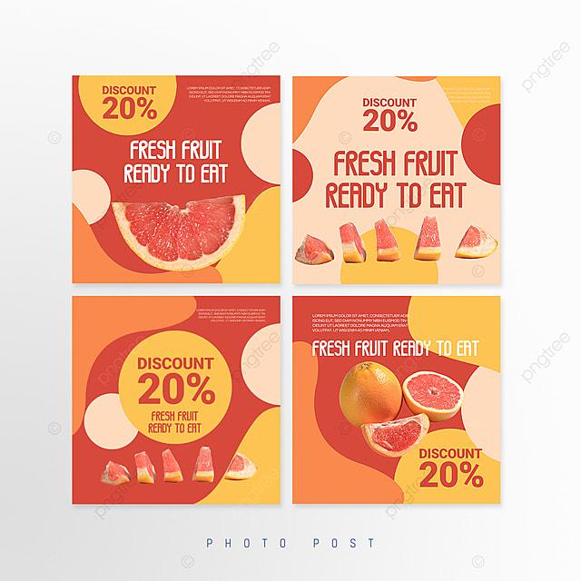 orange simple line mosaic style fruit promotion social media promotion template