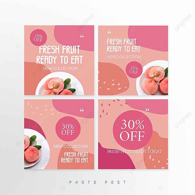 pink simple mosaic style fruit promotion social media promotion template